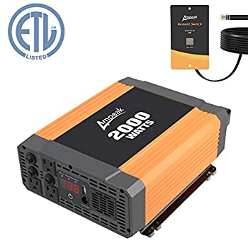 Image of Ampeak Power Inverter 2000 Watt 3 AC Outlets and USB Port DC 12V to 110V AC Car Converter with Remote Control Power Inverters