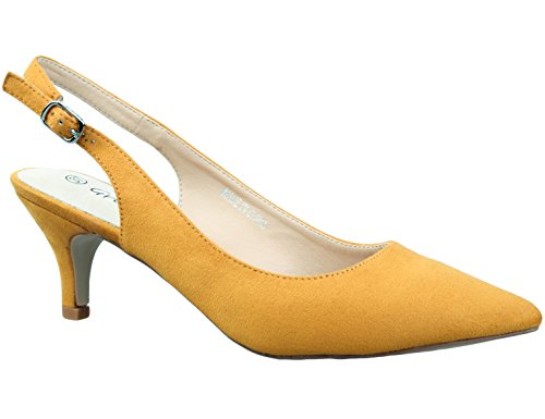 Greatonu Womens Yellow Adjustable Sling Back Kitten Low Heel Dressy Pumps Size 10
