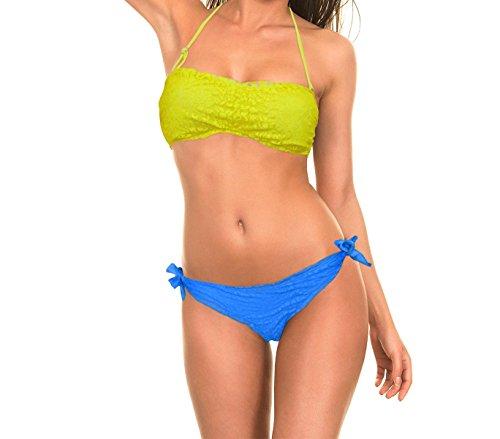 Costume bikini mod. Nash a fascia imbottito in romantico pizzo. MWS (40, Giallo)
