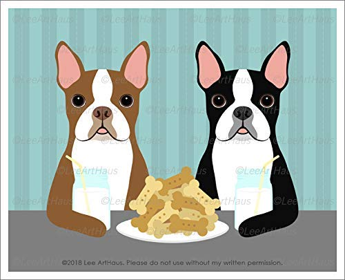 583D - Two Boston Terrier Dogs Eating Dog Bone Cookies and Drinking Milk Mason Jars UNFRAMED Wall Art Print by Lee - Cookie Jar Boston Terrier