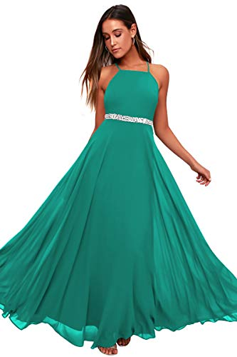 Women's Adjustable Spaghetti Straps Beaded Criss-Cross Open Back Tulle Sexy Formal Ball Evening Gown Long Dress (Jade688, XXLarge)