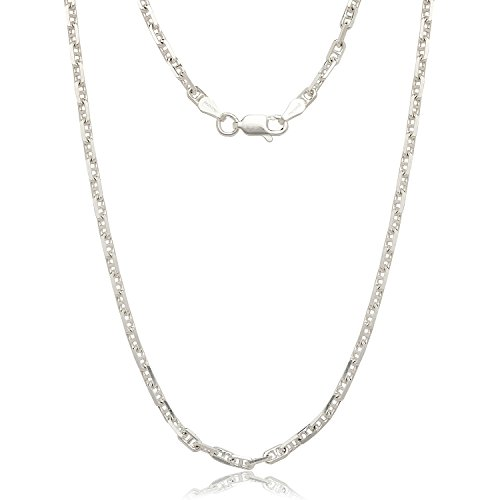 JewelryWeb Sterling Silver Italian 3mm Dimensional Anchor Mariner Chain Necklace (16-30