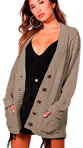 Grand Aran Longues p Bouton Chunky Tricot Femmes e Cable Manches clothing q1UHz