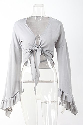 Las Mujeres De Verano Playa Cover Crop Tops Bell Sleeve T - Shirt Grey