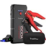 Car Jump Starter, 1500A Peak Trekpow by ABOX 12V Auto Upgraded Battery Booster Pack with UltraSafe Smart Clamps, QC3.0, Type-C Input&Output, LED Flashlight, for Engines up to 8.0L Gas/6.5L Diesel