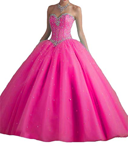 BanZhang Quinceanera Dresses Hot Pink for Women Junior Beaded Sweet 16 Dress Prom Party Ball Gown B181 Hotpink 14