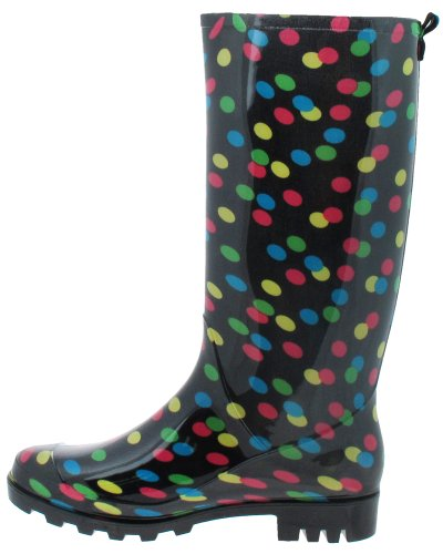 Capelli New York Lucido Puntini Stampati Da Donna Basic Body Jelly Rain Boot Nero Combo 9