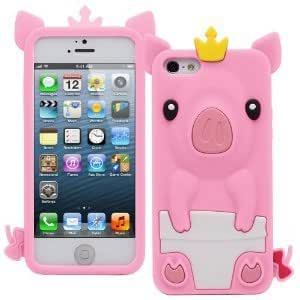 ESI 3D Pig Cartoon Animal Silicone Case Cover for iPhone 5G (Pink)