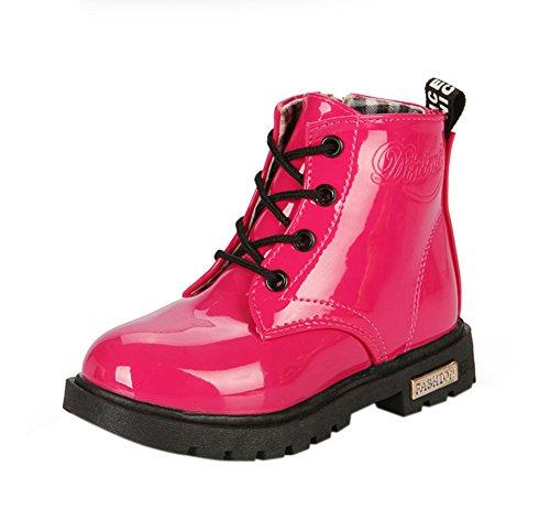 Maxu Fashion Girls Boys Rose PU Waterproof Child Martin Boots,Little Kid, 1M US -
