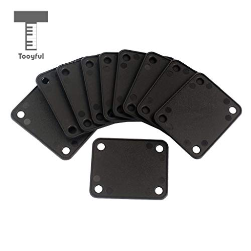 Sala-Fnt - 10 Pieces 4 Holes Plastic Neck Plate Gasket Cushion Shim Pad for Guitar Bass Protective Accessory Black