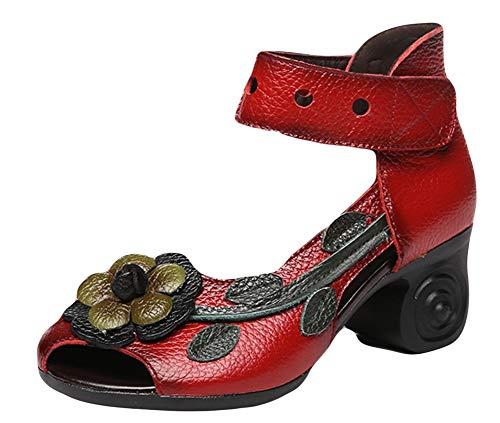 Chunky Ankle Leather Sk Shoes Red Toe Sandals Heel Handmade Studio Floral Vintage Women's Peep FtqS8