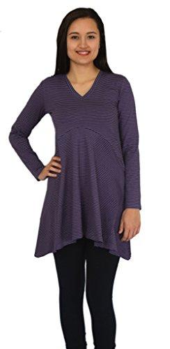 Ayurvastram - Camiseta de manga larga - para mujer Mauve Stripes; Style JINI