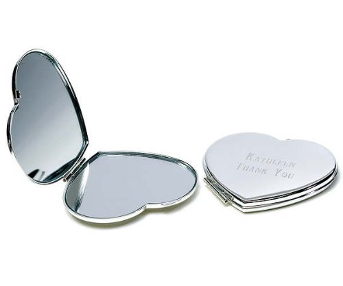 Silver Plated Classic Heart Compact (Silver Plated Compact Mirror)