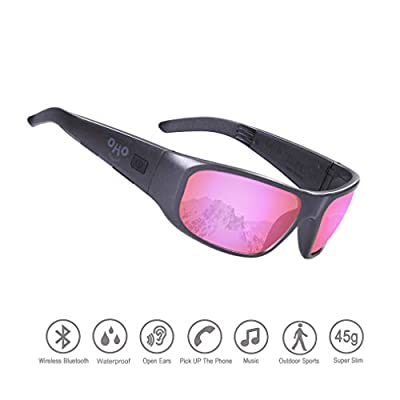 Waterproof Bluetooth Sunglasses,Open Ear Wireless Sunglasses with Polarized UV400 Protection Safety Lenses,Unisex Design Sport Headset for All Smart Phones (Black Frame Mirror Rose Lens)