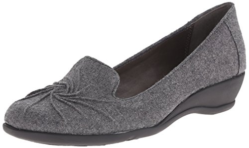 Soft Style Hush Puppies Womens Rory Flat Grey Flannel