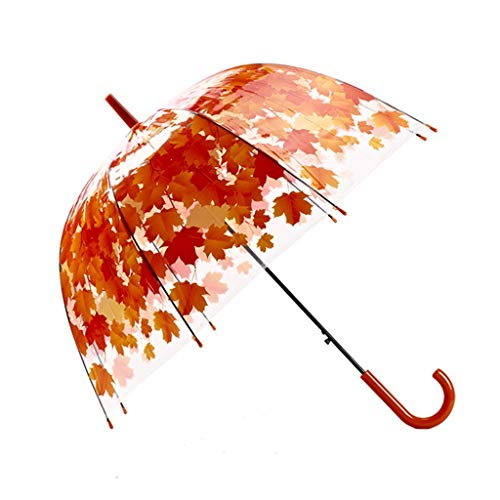- Yusan Clear Maple Leaf Bubble Dome Shape Umbrella, Wind Stick Rain, Long Handle Bubble Umbrella with Easy Grip Handle for Kids,Womens and Wedding (Color : Orange, Size : 2 pcs)