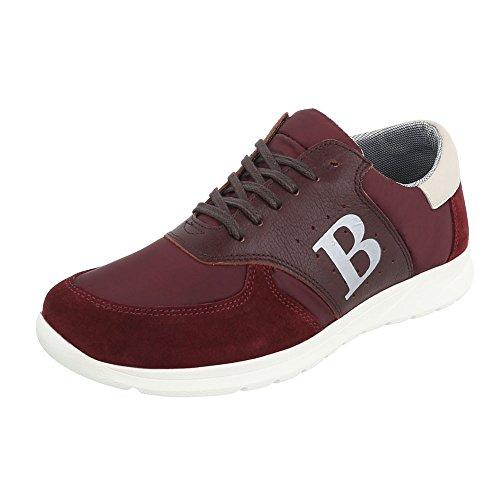 Baskets Chaussures Pour Hommes En Cuir Dentelle Bas-top