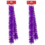 2 x Strands Of 2M Luxury Christmas Tinsel Foiled Thick & Thin Mix - Purple by Tallon