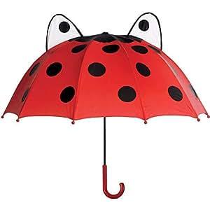 Nueva Toysmith mariquita paraguas costillas de plástico fácil agarre y muñeca Cable se abre a 26pulgadas)