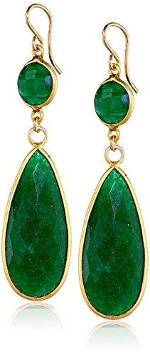 Nashelle-Gold-Filled-Emerald-Long-Double-Drop-Earrings