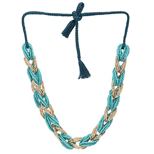 El Allure Elegant Shiny Sparkled French Wire and Seed Bead Braided Teal and Golden Women Handmade Partywear Cinematic Necklace.