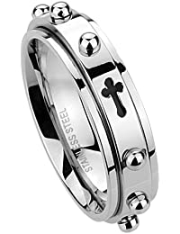 6MM Stainless Steel Cross Rosary Spinner Praying Ring