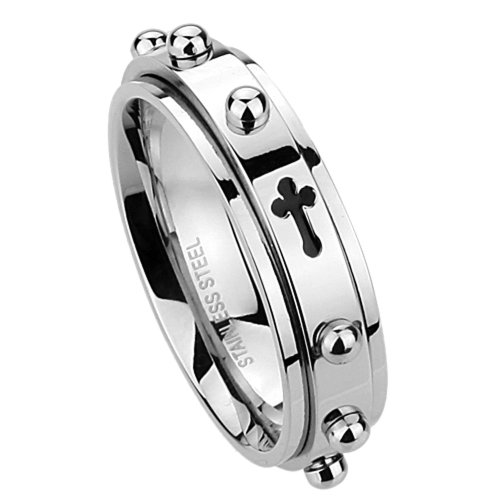 (Double Accent 6MM Stainless Steel Cross Rosary Spinner Praying Ring, 11.5)