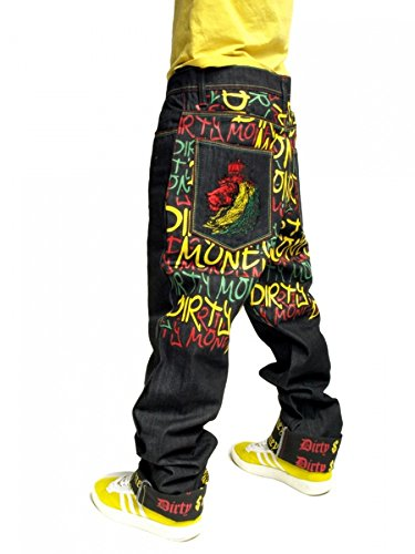 Dirty Money Rasta Lion Peace Loose Fit Jeans for sale  Delivered anywhere in USA