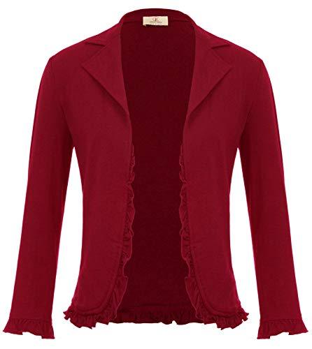 (Women's Ruffle Shrug Bolero Open Front Cotton Cardigan Blazer Jacket Red S)