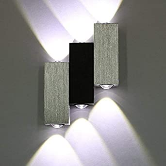 Warmcasa Lámpara de Pared con 3 LED de 6W Aplique de Pared Diseño Moderno Decoración e Iluminación para Dormitorio Escalera y Pasillo (3 LEDs Blanco): Amazon.es: Iluminación