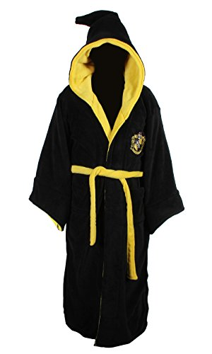 Harry Potter Hogwarts Robes (Harry Potter Hufflepuff Adult Fleece Hooded Bathrobe (One Size))
