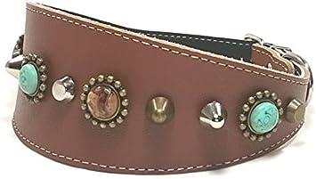 Superpipapo Original Collar de Cuero para Galgo, Podenco, Whippet y Teckel, Diseño Bohemo Piedras Color Turquesa, 45 cm Galgo: Cuello 33-38 cm, Ancho 55mm