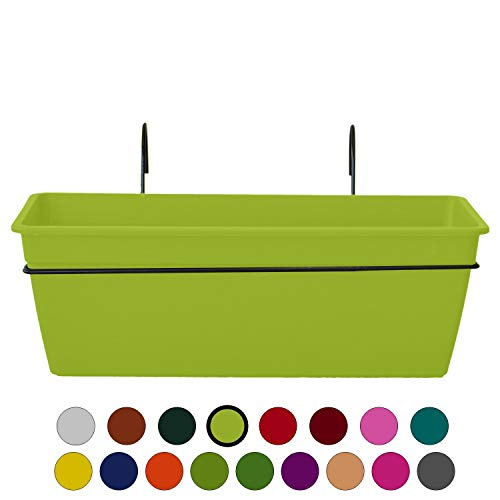 ALMI Gefen Railing Planter 22 Inches, Deck Rail Balcony Mount Flower Planter Box, Adjustable Over the Railing Planters, Indoor, Outdoor Planting Boxes, No Extra Tools Needed - Lime Green