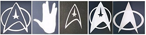 Set of 5 Star Trek Cell Phone Decals: Fleet Insignias & Vulcan Collection in Glossy White