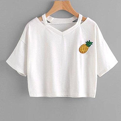 Top Stampato Donna Magliette Camicetta Manica Casuale Ananas Bianca A Ritagli Minetom Moda Estate Crop Tumblr Camicia Pianeta Corta Tops qxY5dnwzH