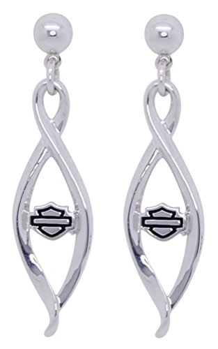 Harley-Davidson Women's Infinity Silver Post Bar & Shield Earrings, HDE0439