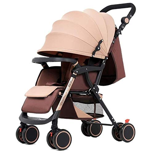 659874555 JFDKDH Two-Way Strollers Foldable Travel Buggy with Safe Five-Point Harness and Brake,Adjustable Backrest Pram Compact Baby Pushchair from Birth,Beige