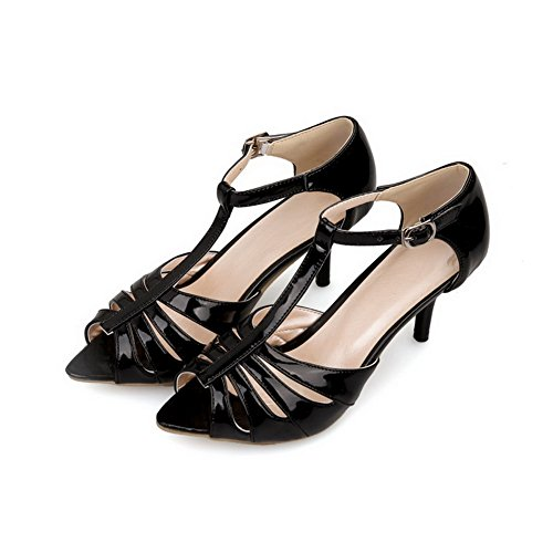 AmoonyFashion Womens Solid Patent Leather High-Heels Buckle Peep Toe Heeled-Sandals Black 53Hrea