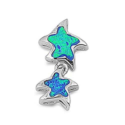 Starfish Pendant Blue Simulated Opal .925 Sterling Silver Hanging Charm (Sterling Silver Opal Hanging)