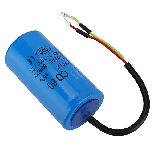 CD60 Universal Microfarad Start Run Condensador de motor con cable conductor 250V AC 150uF 50//60Hz para compresor de aire de motor