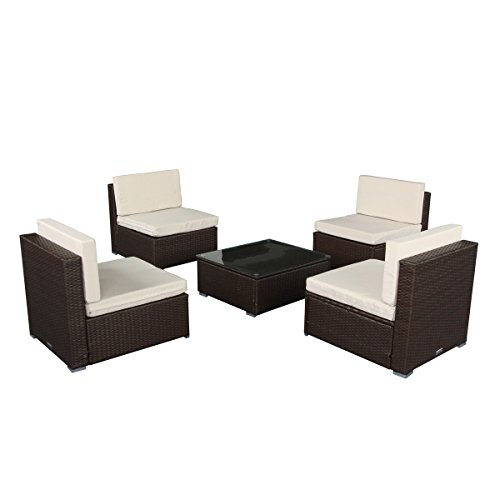 3 Piece Wicker Chair (U-max 7 Piece 3-7 Pieces Patio PE Rattan Wicker Sofa Sectional Furniture Set Outdoor Sofas (5 Pieces-A, Brown))
