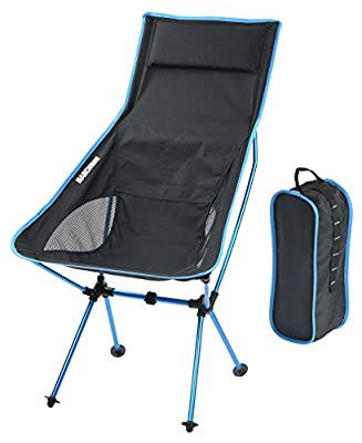 MARCHWAY Lightweight Portable Folding High Back Camping Chair with Pillow for Outdoor Sport and Travel