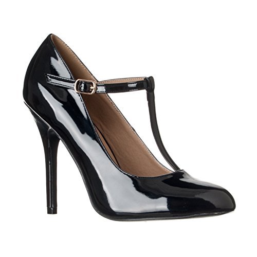 Riverberry Women's Sadie Round Toe T-Strap High Heel Pumps, Black Patent, ()