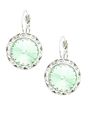 Aurora Round Pale Mint Green Rhinestone Dangle Earrings Clear Rhinestone Border Silver-Tone 1 Inch Long