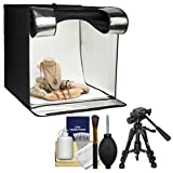 Smith-Victor 15.5'' Desktop LED Light Box Studio Tent with Turntable, 4 Backgrounds & Case with Macro Tripod + Cleaning Kit