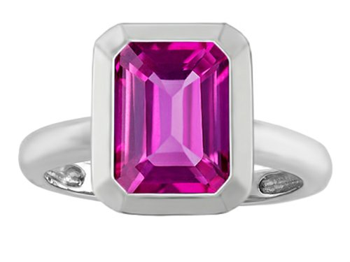 Star K 9x7mm Emerald Cut Octagon Solitaire Ring with Created Pink Sapphire Sterling Silver Size 5 (Ring Sapphire Star Pink)