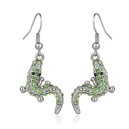 Liavy's Alligator Crocodile Fashionable Earrings - Fish Hook - Sparkling Crystal - Unique Gift and Souvenir
