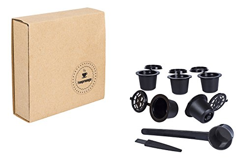 Nespresso Reusable Capsules - Refillable Pods by Nespressgo For Original Line Machines BPA Free Coffee Non Toxic - Includes Bonus Cleaning Brush And Packing Spoon
