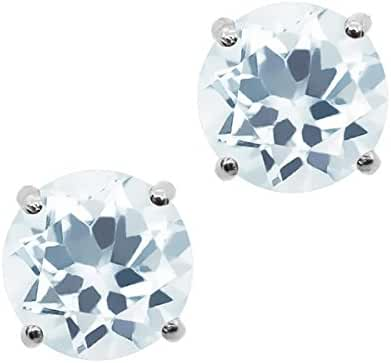 0.44 Ct Round 4MM Natural Sky Blue Aquamarine 925 Sterling Silver Stud Ladies Solitaire Earrings
