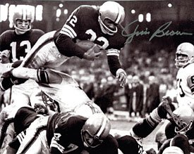 - Jim Brown Autographed / Signed Jumping Over Tackle 8x10 Photo